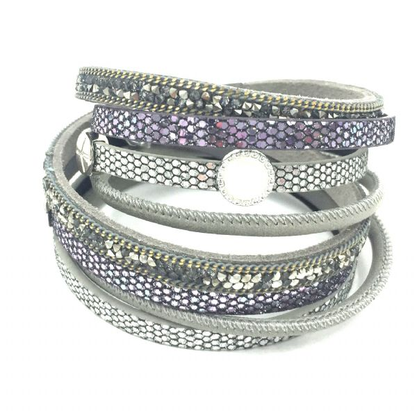 Multi strand double cuff bracelet kit- grey / purple / silver- 4 strands 007